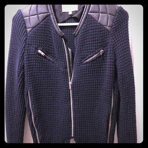 Iro Ceylona Leather Trimmed knitted jacket